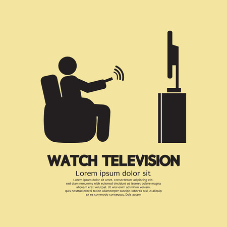 people watching tv: Human Watching Television Symbol Vector Illustration