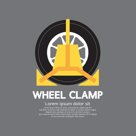 illegally: Wheel Clamp Side View Vector Illustration