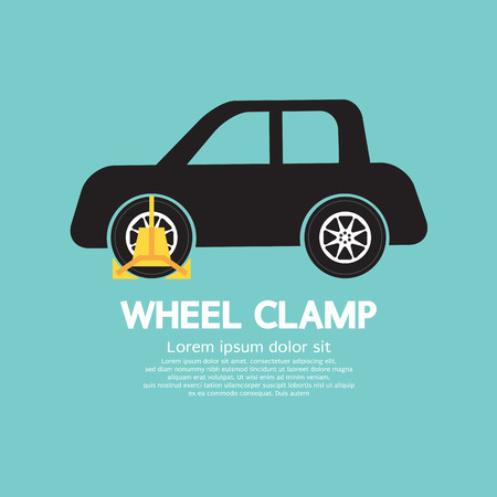 car side view: Wheel Clamp On Car Side View Vector Illustration