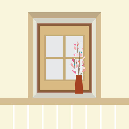 windowsill: Flowers In Vase On The Windowsill Vector Illustration