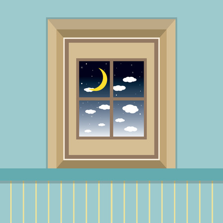 window view: Night Sky View Through The Window Vector Illustration
