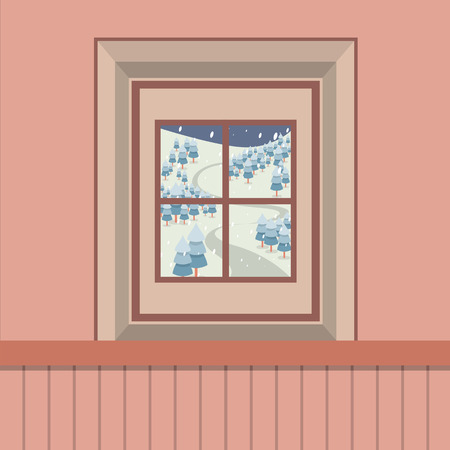 window view: Natural Landscape View Through The Window Vector Illustration Illustration