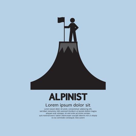 mountain climber: Alpinist Standing With Flag And Pole On The Top Of Mountain Vector Illustration
