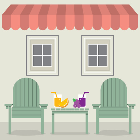 canopy: Chairs Set With Fruit Juice Under Awning And Windows Vector Illustration