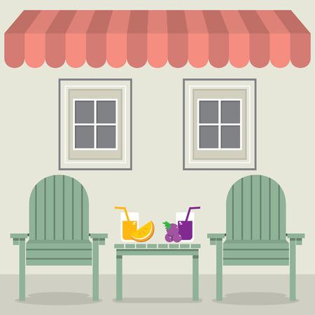 jugo de frutas: Sillas set con Jugo de Fruta Bajo Ilustraci�n Toldo Y Ventanas Vector Vectores