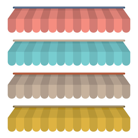 Flat Design Awning Set Vintage Style Vector Illustration