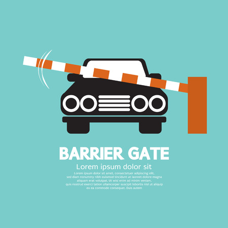 Security Barrier Gate Closed For Vehicle Vector Illustration