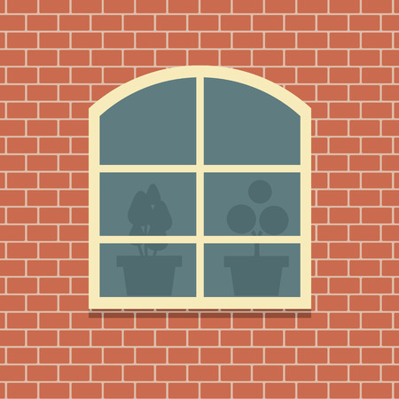 Window On Brick Wall Background Vector Illustration Vector