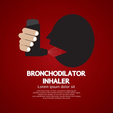 bronchial asthma: Asthma Patient Using Bronchodilator Inhaler Vector Illustration Illustration
