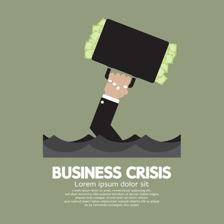 financial obstacle: Plentiful Money Briefcase Of A Sank Businessman : Business Crisis Concept Vector Illustration