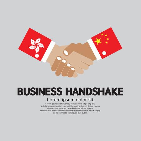 china flag: Business Handshake Vector Illustration. Hongkong and China