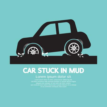 Car Stuck in Mud Vector Illustration Vector