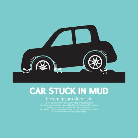 stuck: Car Stuck in Mud Vector Illustration Illustration