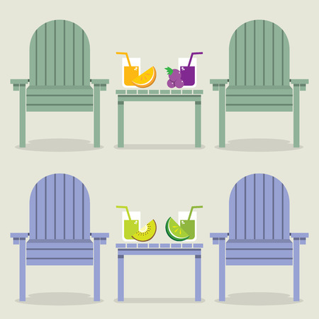 fruit juice: Chairs Set With Fruit Juice Glasses Vector Illustration