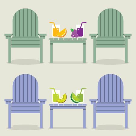 jugo de frutas: Sillas colocadas con jugo de frutas Ilustraci�n vectorial Gafas