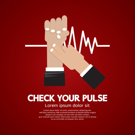 taking pulse: Fingers Checking Pulse Medical Concept Vector Illustration Illustration
