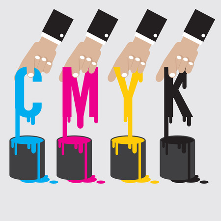 offset: CMYK - Cyan Magenta Yellow And Black The Offset Printing Color System Vector Illustration