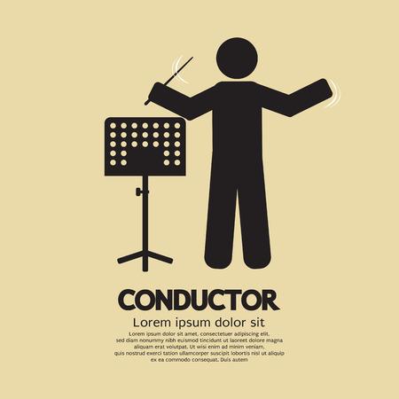 chef d orchestre: Chef d'orchestre Avec Music Stand Symbole vecteur Illustration