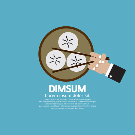 sum: Dimsum With Chopsticks Vector Illustration
