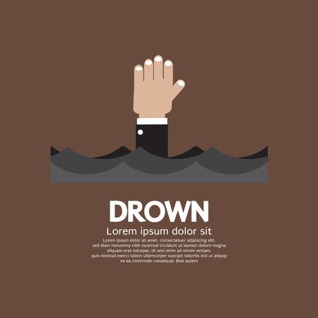 ahogarse: Ahogamiento Hombre Mostrando su mano sobre el agua ilustración vectorial Vectores