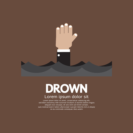 drown: Drowning Man Showing His Hand Over The Water Vector Illustration