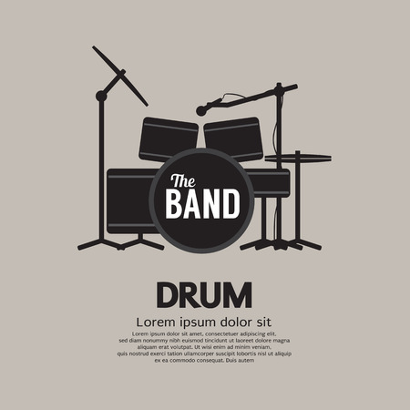 cymbal: Drum Set Music Instrument Vector Illustration