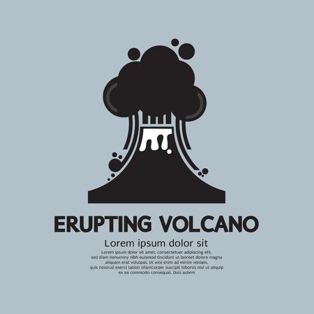 ash cloud: Erupting Volcano Natural Disaster Vector Illustration