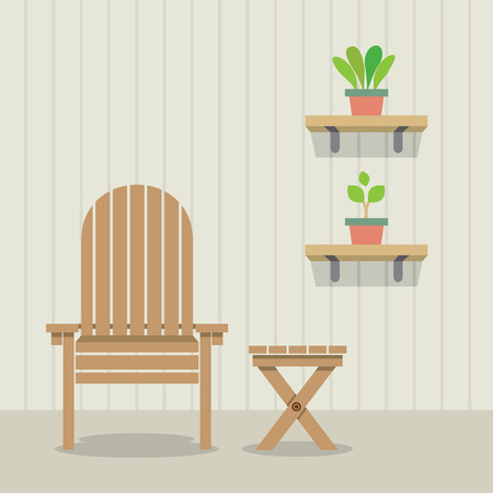 garden chair: Garden Chair And Table With Pot Plants On Wooden Wall