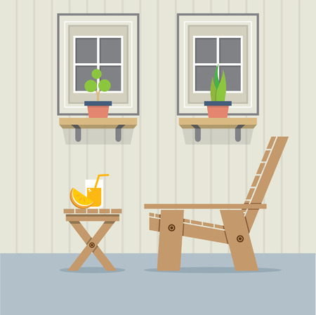 side table: Closed Windows With Wooden Chair And A Glass Of Orange Juice On Table Vector Illustration