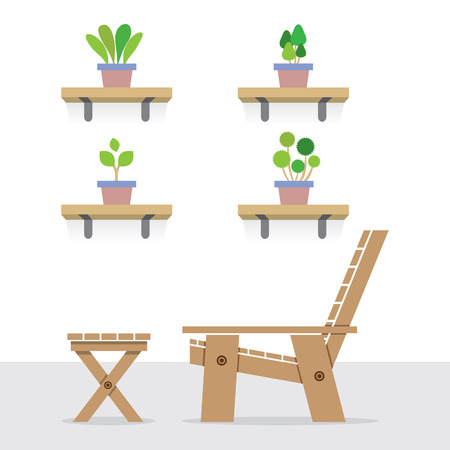 garden chair: Pot Plants On Shelves With Side View Of Wooden Garden Chair And Table Vector Illustration