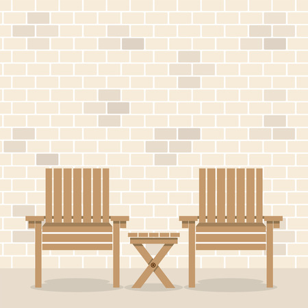 bricks background: Wooden Garden Chairs With Table In Front Of Bricks Wall Background Vector Illustration