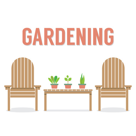 plant pot: Wooden Garden Chairs And Pot Plant On Table Vector Illustration