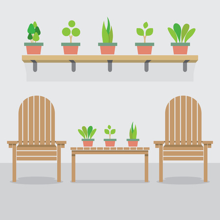 garden chair: Wooden Garden Chairs And Pot Plants Vector Illustration