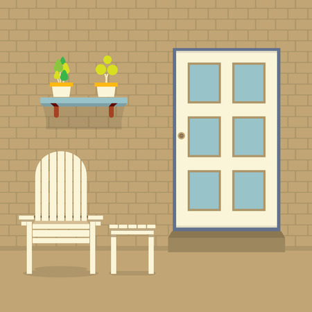 garden chair: Garden Chair And Table With Pot Plants On Brick Wall