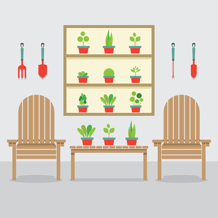 Wooden Garden Chairs And Pot Plants Vector Illustration Vector