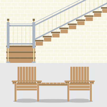 wooden stairs: Interior Bricks Wall With Stairs And Wooden Chairs Vector Illustration