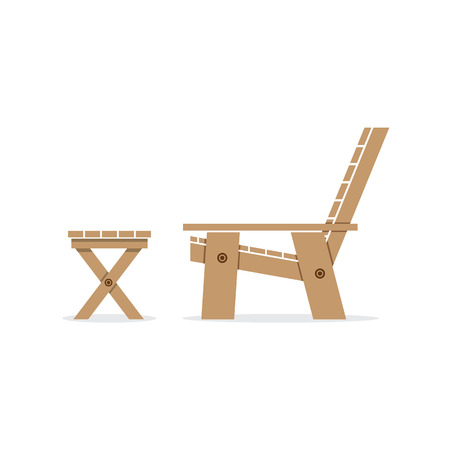 garden bench: Side View Of Wooden Garden Chair And Table Vector Illustration