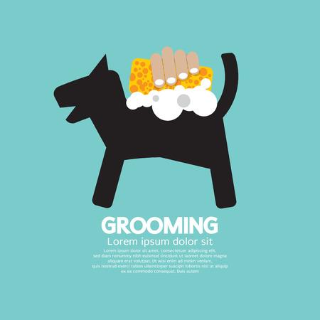 cuidar: Ducha Perro Con La Ilustraci�n Jab�n Y Esponja Pet Grooming Concept Vector