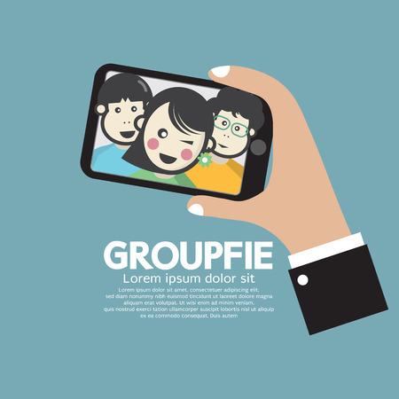Groupfie Un Grupo Autofoto POR TELEFONO Ilustración Vector Vectores