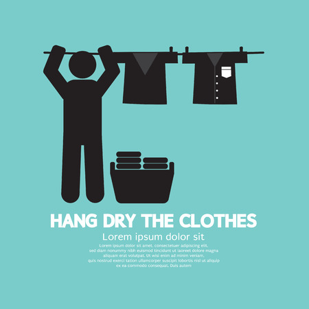 laundry symbol: Hang The Clothes On A Clothesline Vector Illustration Illustration