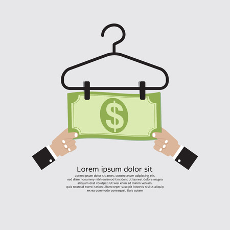 money laundering: Bank Note Dry On Clothes Hanger Finance And Business Concept Vector Illustration