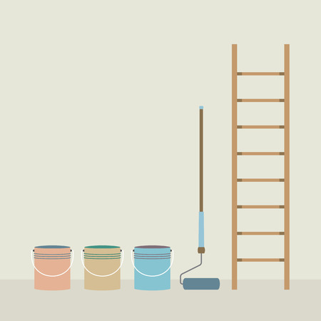 Ladder, Paint Roller And Paint Buckets Home Improvement Vector Illustration Vector