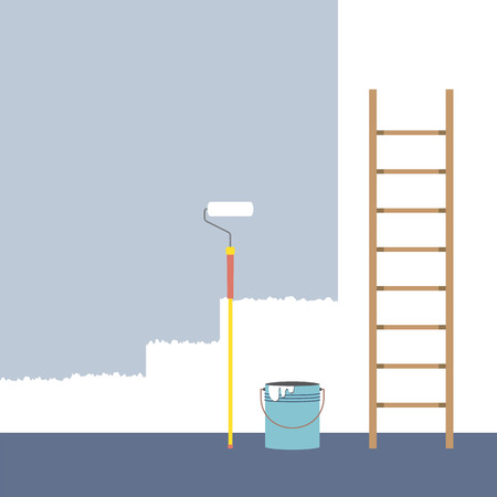 Ladder, Paint Roller And Paint Bucket Home Improvement Vector Illustration Vector