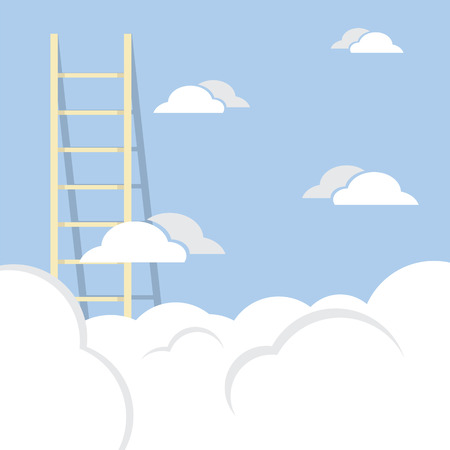 Single Ladder Through The Cloud Into The Sky Vector Illustration