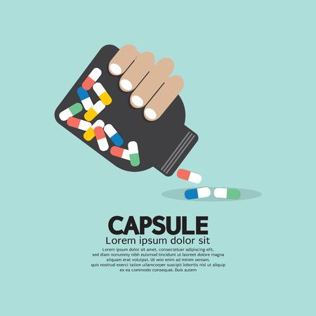 Geneeskunde Capsules fles in de hand Vector Illustratie