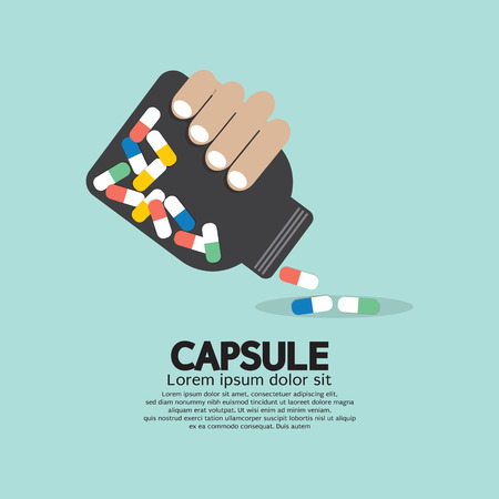 Medicine Capsules Bottle In Hand Vector Illustration