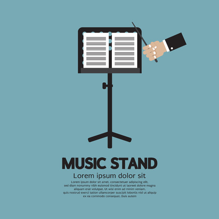 Single Music Stand With Conductor Vector Illustration