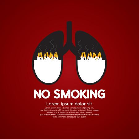fumando: Los cigarrillos Ash En Pulmón-No Fumar concepto de ilustración vectorial Vectores