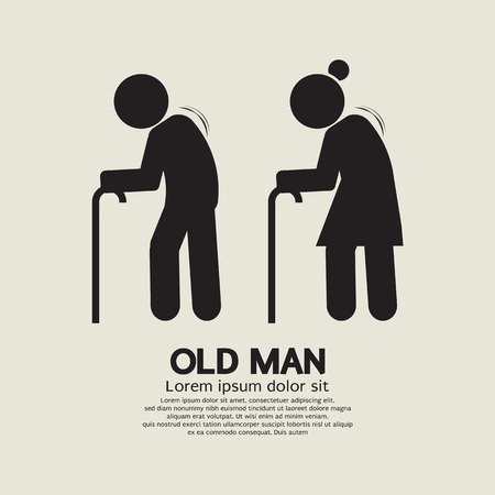 hombre viejo: Elder Ilustraci�n Negro S�mbolo Vector Graphic
