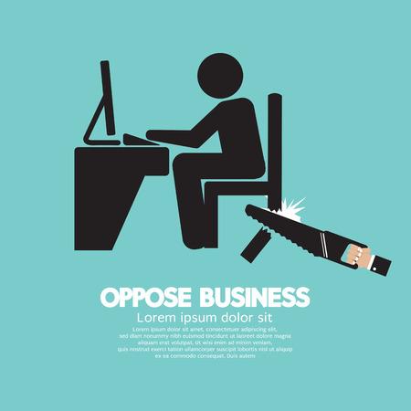 Oppose Business Black Symbol Vector Illustration